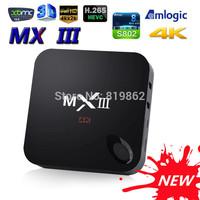 Newest Original MXIII Smart TV Box Amlogic S802 Quad-Core 2GHz 2G/8G Dual WIFI HDMI 4K XBMC Android 4.4 TV BOX Free shipping
