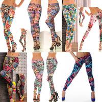 Hot!! Women Newest Fation Jeggings Winter Legging Christmas Pinted Pants For Girls Fitness Sport Legging