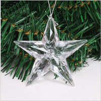 Promotion 5pcs/lot new arrival clear acrylic LED flash star pendant decoration supplies Christmas tree ornaments