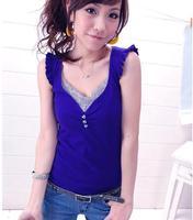 2014 Free Shipping Hot SaleFashion Lotus Leaf Sleeve Three Grain Buckle Cotton V-Neck T-shirt blue OG14031105  Drop Shipping