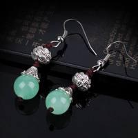 vintage agate women earrings silver gemstone earrings retro women stone earrings