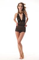 Hot sales Sexy Women Lady Lingerie Lace Mini Dress Underwear  Sleepwear+G-String Set Black  0S 203