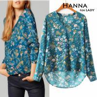 2014 autumn v-neck collar printed shirts blouses women clothing cotton tops