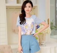 2014 Summer New Women's Sets Ladies T-shirt Printed Short-sleeved Chiffon Shirt + Pants Suit Female Waist Skirt