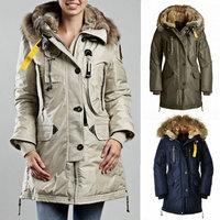 Winter 2014 Kodiak Women Down Jacket Femme Long Parka Duck Down Snow Warm Lady Coat Fur Collar Outerwear Free Shipping XS-XL