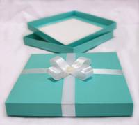 New 100pcs 15.5 x 15.5cm Square 2PC Blue Party Invitation Boxes,Party Box,Wedding Box (JCO-00Z7)