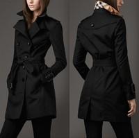 2014 new women trench coat long sleeve turn-down collar Europe style Slim winter coat women double-breasted long desigual coat