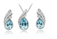 fashion imitate diamond sterling silver jewelry sets 2014 bridal silver necklace set for women sapphire crystal jewelry