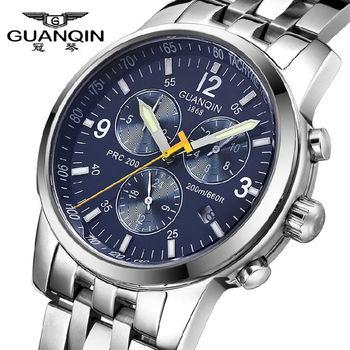 Оригинал бренд GUANQIN механические мужчины люксовый бренд свободного покроя бизнес часы полный стали 100 м водонепроницаемый мужчины наручные часы GQ50009