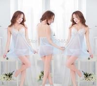 Fashion sexy women lace lingerie dress mesh dress sleepwear ladies summer babydoll hot rayon nightwear + T back erotic wear