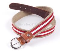 Wholesale unisex three color women canvas belt striped color