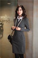 2014 spring autumn winter women's slim fit long-sleeve knitted V-neck hip slim one-piece dress female basic