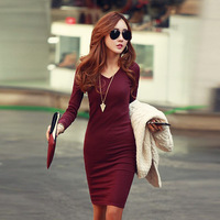Free Shipping 2014 New Winter Women Fashion V-neck Long-Sleeve Basic Casual Slim Waist Knitted Plus Size S~XXL One-piece Dress