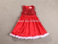 Free shipping Red Sleeveless Princess Santa Ball Gowns Dress Children's sequin Xmas dress
