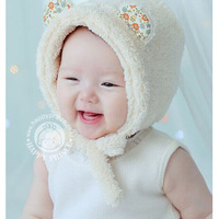 2014 new style Free Shipping Baby Toddler Boy Girl Kids  Cap 6 color  Fleece Warm Hats Earflap Beanie for 2-6 years baby