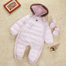 2014 New Winter Newborn Baby Duck Down Romper Baby Jumpsuit Gloves+feet set Infant Baby Warm Thick Romper Down Coat Free Ship(China (Mainland))