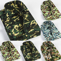 Men Camouflage Shirts Plus Size S-4XL 2014 New Formal Arrival Fashion Business Dress Casual Camo Slim Fit Shirts