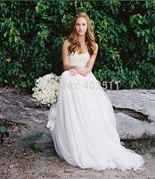 2015 Year New Arrive Sleeveless Zipper Chiffon Strapless Sweep Train A-line Appliques Natural Waistline Long Wedding Dresses