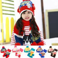 2014 style Kids Boys Girls Crochet set hat Winter Warm Beanie robot Baby Earflap Hat Scarf+Cap 1 set Freeshipping