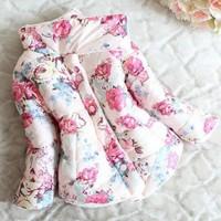 Hu sunshine Retail Girl's Flower Print Thick Fleece Wadded Coat Autumn Winter Children Outerwear warm down WW09300539H