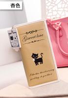 New 2014 Women Wallets Change Purses Women Clutch Wallet Purse Female Cute Cat Pendant Letter Women's Long Design Wallets