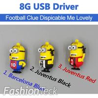 Despicable Me 2 minion 8GB USB Flash Memory Stick Drive U Disk Pen drive Juventus Barcelona Football Club Free Shipping