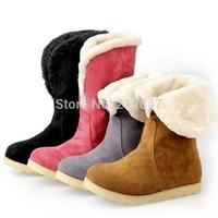 Dropship Fashion Female Faux Fur Flat Ankle Boots Women's Winter Snow Boots Shoes Big Sz