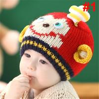 2014 new style Baby Girls Boys Kint hat Kids Toddler Crochet Knit Cute robot Hat Child Cap Beanie Bonnet  free shipping