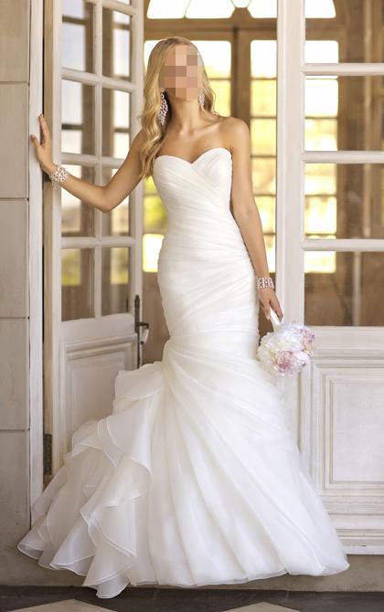 Nova Fation Real Photo grátis frete vestido de noiva Custom Made Organza simples e elegante da sereia vestido de noiva 2014(China (Mainland))