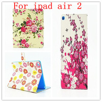 New Arrival Painted Flowers Case For Ipad Air 2 Flip Leather Cover Case Stand For Ipad 6!