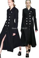 FREE SHIPPING new 2014 autumn winter fashion temperament Elegant chest floriation black double-breasted women wool coat XS-XXL