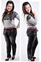 Black fat women straight jeans Plus size 32-46 rhinestone stretch denim pants large size slim trousers 2014 free shipping!