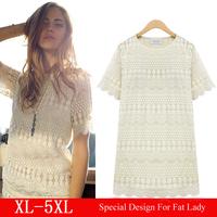 XXXL X-Large Size White Dress Fat Women Jacket roupas femininas Lace Chiffon Dress Coat Loose vestidos femininos