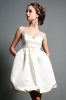 High quality wedding shoulder chiffon dress white bride short evening dress plus size wedding gown free shipping