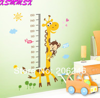 Hot Sale 2014 Large Size Giraffe Baby Kid Height Ruler Measure Chart Wall Sticker Decals Free Shipping