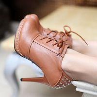 lace up ankle boots heels platform pumps high heels boots women winter autumn leather shoes woman rivets black brown beige