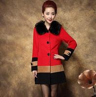 fourrure 2014 Winter new Korean woolen coat thick woolen coat wool coat women aged mother dress