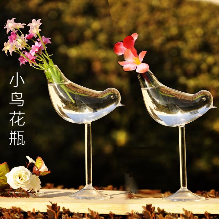 H&J garden style glass vase high foot bird vase Home Furnishing ornaments hotel decoration ware(China (Mainland))