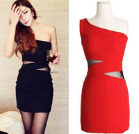 Fashion Women Ladies Casual Sexy Clubwear Tight Mini Dress Gauze Patchwork One Shoulder Sleeveless Summer Black Red