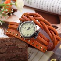 Vintage Retro Rivet Braided Genuine Leather Strap Women Wristwatches Bracelet Dress Watches Clock