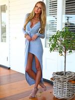 Free shipping European style fashion sexy slim V-neck long sleeve sexy front split knot women dress