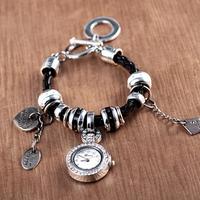 8 colors Fashion Leather Bracelet Heart Multi Pendant Women Dress Watch Quartz Watch