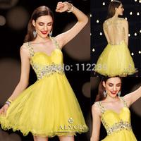 Gorgeous Custom Made Yellow Chiffon Rhinestone Dress For Cocktail E190