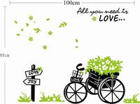 Hot Sale 2014 Green Flower Wheelbarrow Illustration Art Home Decor Vinly Wall Decals Sticker Free Shipping