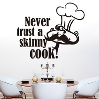"""Hot Sale 2014 """"Never Trust A Skinny COOK"""" English Quote Wall Stickers Waterproof Removable Wall Decor Free Shipping"""