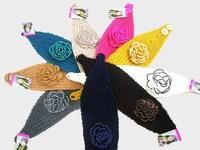 2014 New Winter Headband Small Pearl Flower Headbands For Women Fashion Handmade Crochet Headwrap Women Headwear 1244