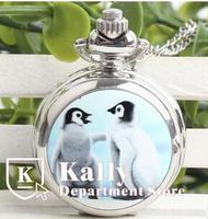 Wholesale trumpet enamel pocket watchretro fashion cartoon  pocket watch  penguin lovers students  pocket watch