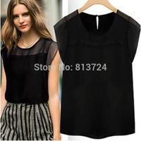 2014 Summer Short Sleeve Fashion Tops European Style Loose Slim O-neck Lace-up Chiffon Essential Feminine Blouses