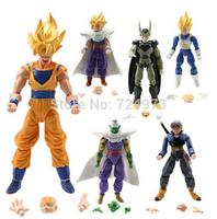 6 pieces 1 lot Goku Sun Piccolo Gohan Vegeta Trunks Dragon Ball Z action figure,movable changing face Super Saiyan model