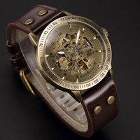 Brand Men's Vintage Bronze Retro Automatic Self-Wind Mechanical Skeleton Leather Strap Steampunk Analog Wristwatch Relogio
